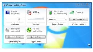 windows mobility center